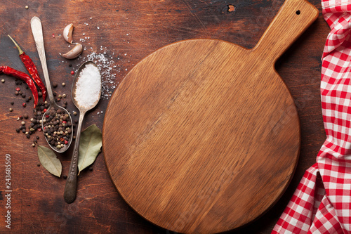 Foto op Canvas Aromatische Various spices, herbs and cooking utensils