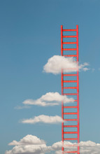 Ladders In The Clouds On Blue Sky. Conception For Growth, Rise And Success.