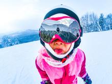Little Skier On Snowy Ski Slop...
