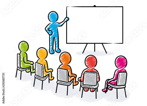 Obraz Business presentation: Speaker points to a blank white board in front of a sitting spectators / Hatched vector drawing - fototapety do salonu