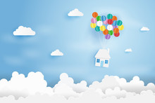 Paper Art Of House Hanging With Colorful Balloon,Business Concept,Paper Art Style.