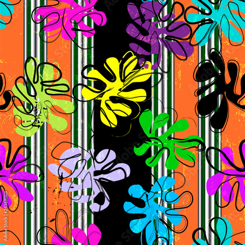 colorful abstract flower background pattern, with stripes, elements, strokes and splashes, seamless, pop art style vector