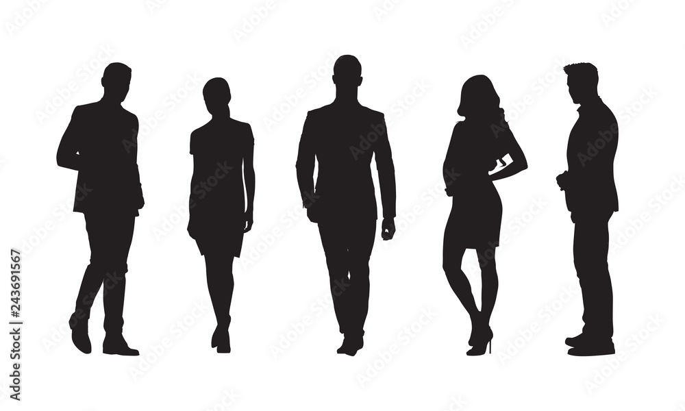 Fototapeta Businessmen and businesswomen, group of people in formal clothes. Set of isolated vector silhouettes