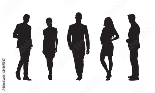 Obraz Businessmen and businesswomen, group of people in formal clothes. Set of isolated vector silhouettes - fototapety do salonu