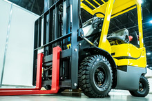 Forklift Truck Warehouse Equipment. Transportation Of Goods In Stock. Hydraulic Trolley For The Store. Storage. Machine For Loading. Warehouse Management. Forklift.