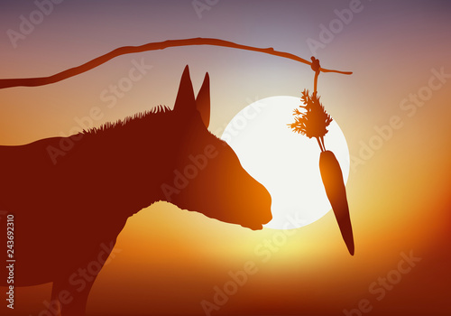 Concept de la manipulation et de récompense inatteignable avec un âne que l'on i Fototapet