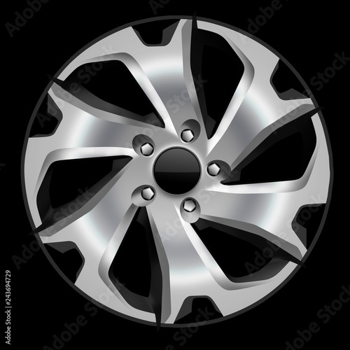 Design sketch of an alloy wheel in side view with black background Canvas Print
