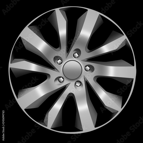 Fotografía  Design sketch of an alloy wheel in side view with black background