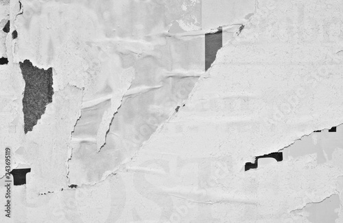 Fototapeta Blank white creased crumpled paper texture background old grunge ripped torn vintage collage posters placards empty space text obraz