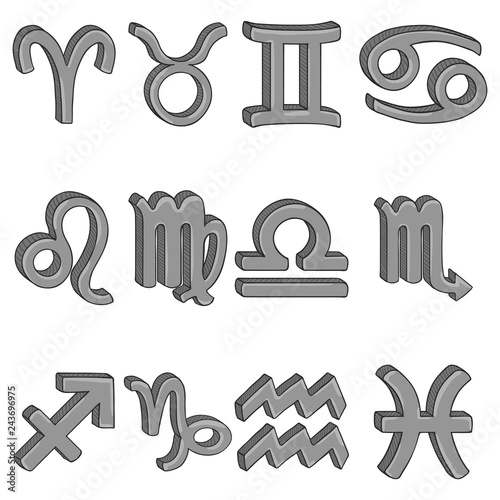 Vector Cartoon Set of 12 Gray Zodiac Signs  Astronomical Symbols