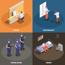 Prison Jail Isometric Concept