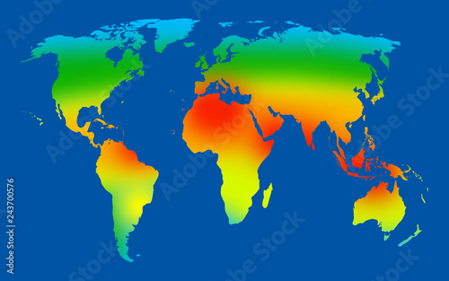 World map showing different temperate throughout the countries Wallpaper Mural