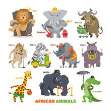 African Animals Vector Cartoon...