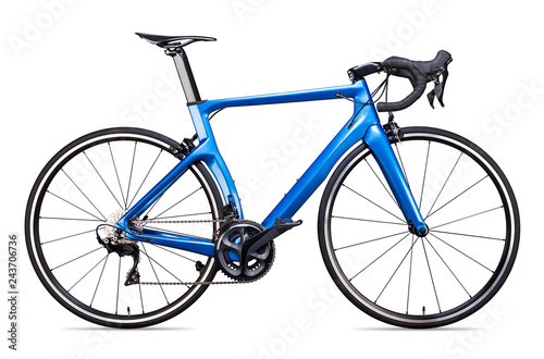 Fotografia blue carbon racing sport road racer bike bicycle racer isolated