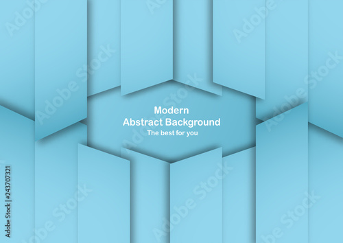 Fototapeta Abstract blue background with pastel color. Template for business presentation, cover, invitation, poster, advertisement, banner. New trend of vector illustration design in 3D paper cut. obraz na płótnie