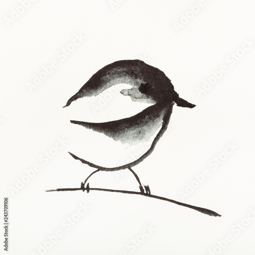 plakat sparrow bird on twig is hand drawn on creamy paper