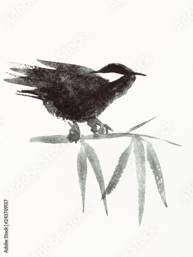 fototapeta na lodówkę sparrow on bamboo is hand drawn on creamy paper