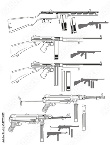 Graphic black and white detailed old retro submachine guns with ammo clip Wallpaper Mural