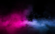 canvas print picture - Empty scene  with glowing pink and blue smoke environment atmosphere on floor.  Fashion vibrant colors spectrum background. 3d rendering.