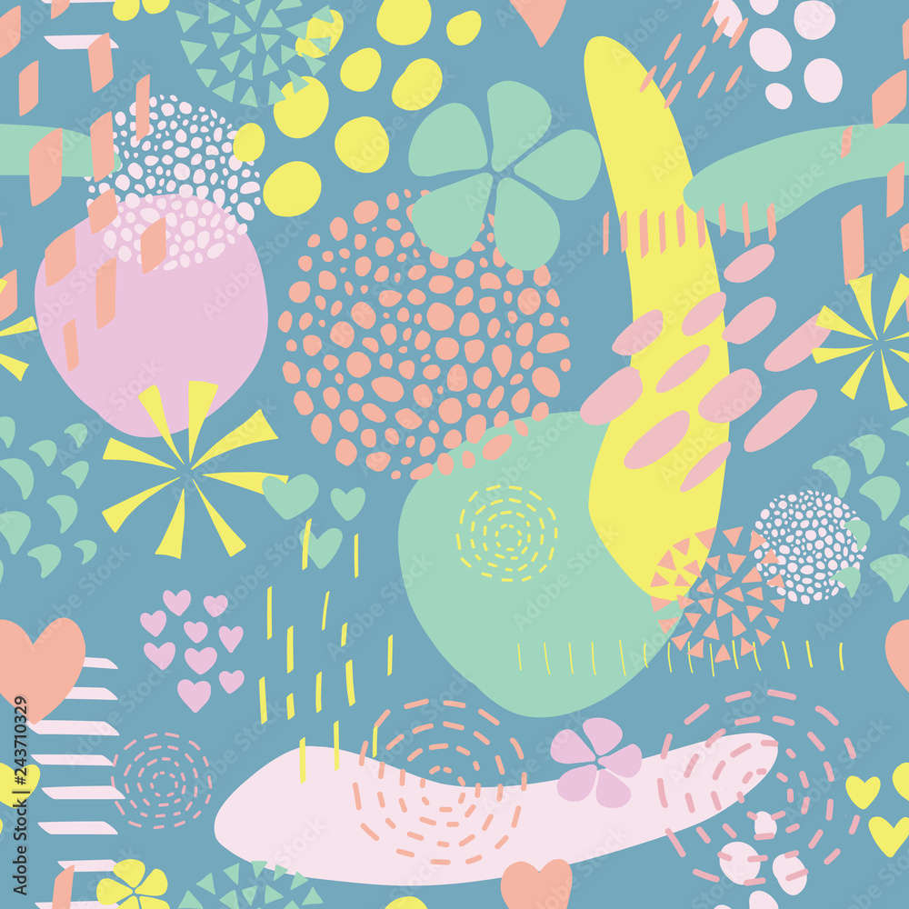Seamless Abstract Shapes Vector Background Foto Poster
