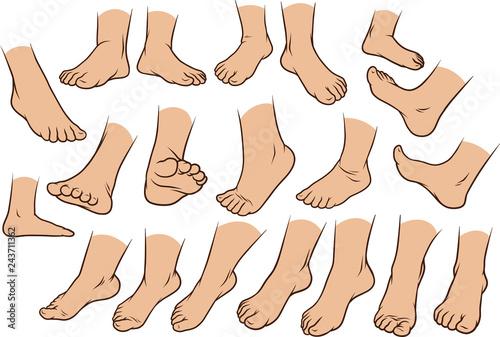 Photo  Cartoon white man or woman foots gesture set