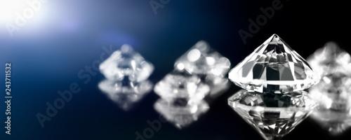Cuadros en Lienzo Banner, Diamanten oder Brillanten mit Spiegelungen, Nahaufnahme