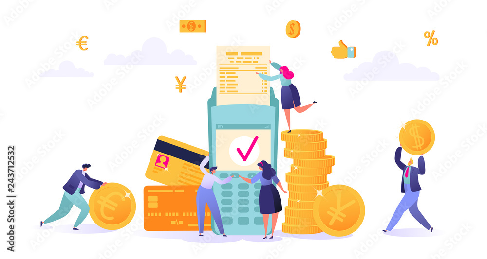Fototapeta Concept of online banking, money transaction technology. Business and finance theme. Credit card and payment terminal. Business people pay coins cash. Flat People Characters Making Money.