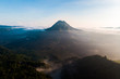 beautiful view sunrise and mist at Batur volcano, Kintamani, Bali, Indonesia. Sunrise view of Batur volcano, Bali island, Indonesia. Bali volcano. Bali nature landscape