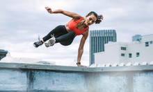 Fitness Woman Doing Workout On Rooftop