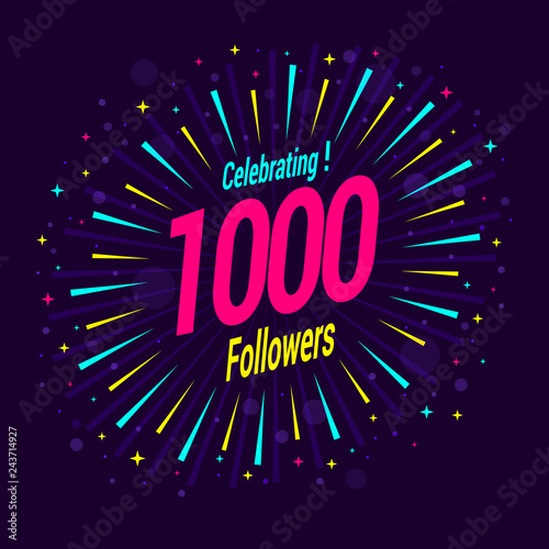 Fotografía  1000 followers card banner template for celebrating many followers in online social media networks
