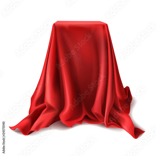 Fotografía  Vector realistic box covered with red silk cloth isolated on white background