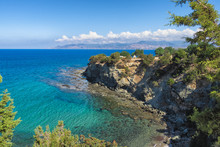 Baths Of Aphrodite Sea View With Blue Sky And Sea, Cyprus