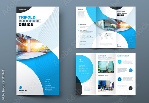 Blue Trifold Brochure Layout With Circles Acheter Ce Template