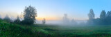 Fototapeta Na ścianę - Panorama of foggy lawn with growing trees on a background of sunrise sky.