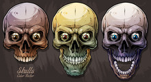 Detailed Graphic Realistic Cool Colorful Human Skulls With Crazy Eyes. On Gray Grunge Background. Vector Icon Set.