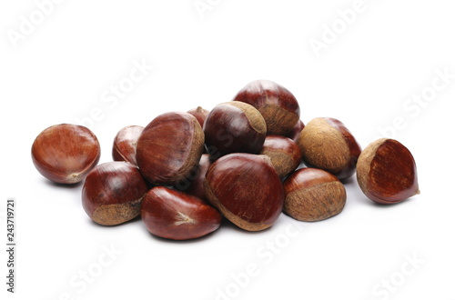 Pile edible chestnut isolated on white background