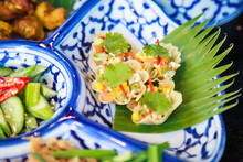 Thai Food Cuisine, Kratong Thong (Herb Minced Pork Or Chicken And Sweet Corn In Pastry, Golden Shell Cups Or Baskets) On Dish Background. Traditional And Cultural Thai Food, Gourmet And Recipe Concept