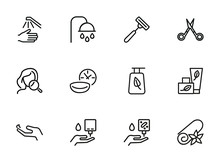 Self Care Line Icon Set. Shower, Scissors, Cream. Beauty Care Concept. Can Be Used For Topics Like Hygiene, Spa Salon, Daily Routine