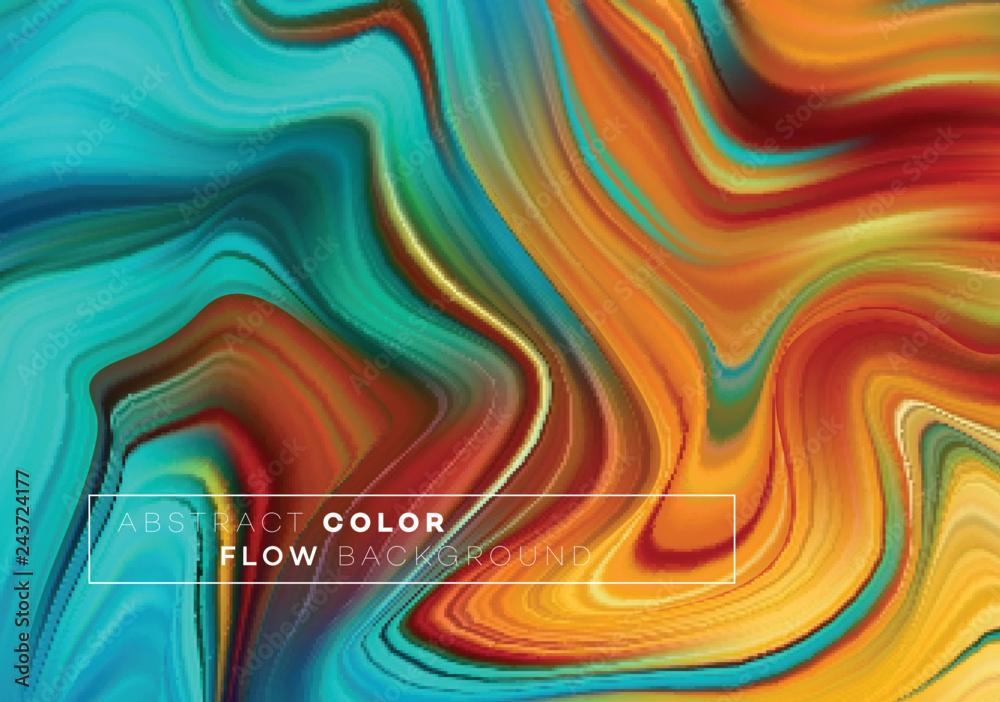 Nowoczesny kolorowy plakat przepływu. Fala płynny kształt w kolorze czarnym tle. Projekt artystyczny dla twojego projektu. Ilustracji wektorowych