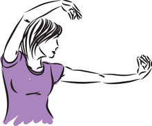 Tai Chi Woman Pose Vector Illu...