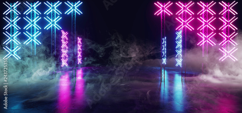 Cuadros en Lienzo Sci Fi Futuristic Modern Cross Shaped Neon Led Lights Scene Stage On Grunge Refl