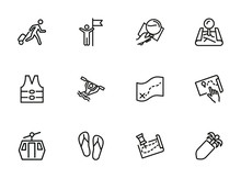 Travelling Line Icon Set. Set ...