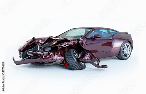 Car crashed. Purple sport car damaged on the front.