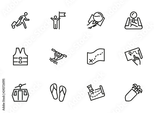 Photo  Travelling line icon set