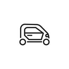 Hybrid Car Line Icon. Small, Mini Car, Modern City. Smart Car Concept. Vector Illustration Can Be Used For Topics Like Modernization, City, Town, Ecology