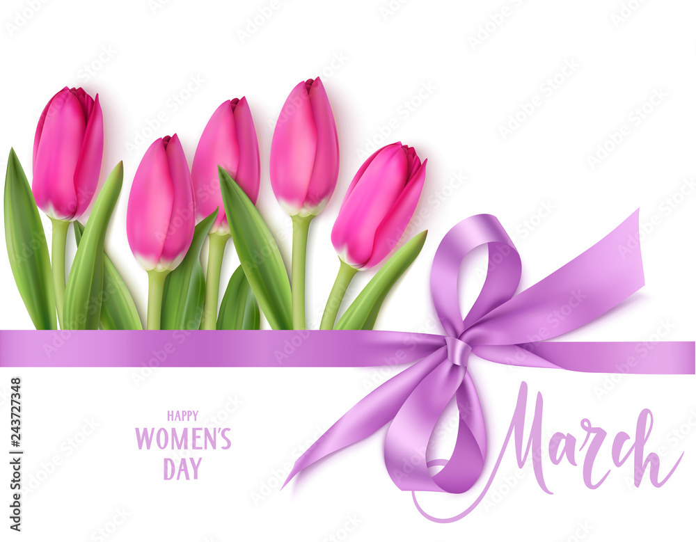 Fototapeta International Womens Day design template. 8 march background with beautiful purple bow,  horizontal ribbon and spring pink tulip isolated on white. Holiday decoration. Vector illustration
