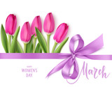 Fototapeta Tulipany - International Womens Day design template. 8 march background with beautiful purple bow,  horizontal ribbon and spring pink tulip isolated on white. Holiday decoration. Vector illustration