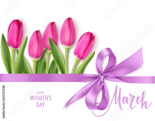 Obraz International Womens Day design template. 8 march background with beautiful purple bow,  horizontal ribbon and spring pink tulip isolated on white. Holiday decoration. Vector illustration - fototapety do salonu