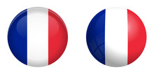 France Flag Under 3d Dome Button And On Glossy Sphere / Ball.