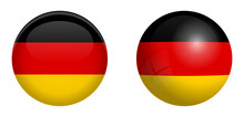 Germany Flag Under 3d Dome Button And On Glossy Sphere / Ball.